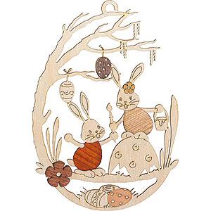 Kleine Figuren & Miniaturen Osterartikel Fensterbild Stupsi Hase auf Eierschale - 25 cm