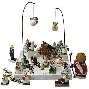 Weihnachtsengel Günter Reichel Schutzengel Figurengruppe 'Im Schnee' - 3,5cm