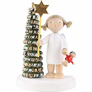 Weihnachtsengel Flade Flachshaarengel Flachshaarengel am Weihnachtsbaum mit Stern und Puppe - 5cm