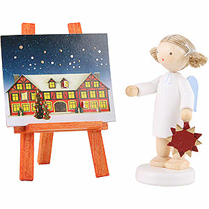 Bestseller Flachshaarengel mit Adventsstern u. -kalender - 5cm