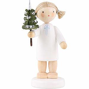 Weihnachtsengel Flade Flachshaarengel Flachshaarengel mit Bäumchen  - 5cm