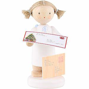 Weihnachtsengel Flade Flachshaarengel Flachshaarengel mit Brief an das Christkind - 5 cm