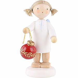 Weihnachtsengel Flade Flachshaarengel Flachshaarengel mit Christbaumkugel - 5cm