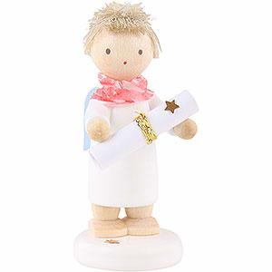 """Weihnachtsengel Flade Flachshaarengel Flachshaarengel mit Gedichtrolle (inclusive Gedicht """"Flachshaarengelversprechen"""") - 5cm"""