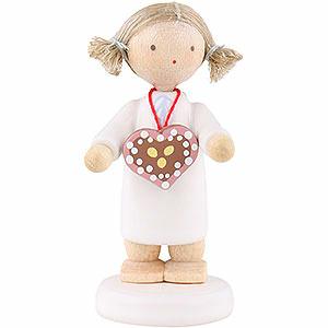 Weihnachtsengel Flade Flachshaarengel Flachshaarengel mit Lebkuchenherz - 5cm