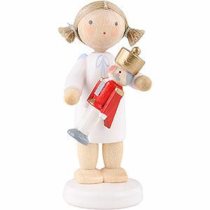 Weihnachtsengel Flade Flachshaarengel Flachshaarengel mit Nußknacker - 5 cm