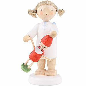 Weihnachtsengel Flade Flachshaarengel Flachshaarengel mit Pinocchio - 5cm