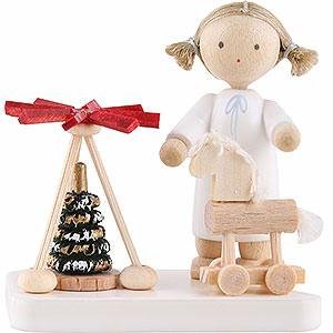 Weihnachtsengel Flade Flachshaarengel Flachshaarengel mit Pyramide und Thüringer Pferd - 5cm