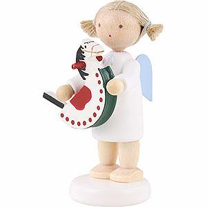 Weihnachtsengel Flade Flachshaarengel Flachshaarengel mit Schaukelpferd - 5cm