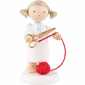 Weihnachtsengel Flade Flachshaarengel Flachshaarengel mit Schere und Wollknäuel - 5cm