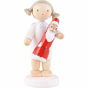 Weihnachtsengel Flade Flachshaarengel Flachshaarengel mit Schokoladenweihnachtsmann - 5cm