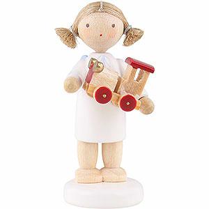 Weihnachtsengel Flade Flachshaarengel Flachshaarengel mit Spielzeugauto - 5 cm