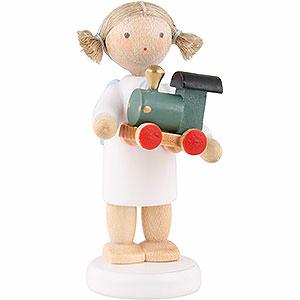 Weihnachtsengel Flade Flachshaarengel Flachshaarengel mit Spielzeuglokomotive - 5 cm