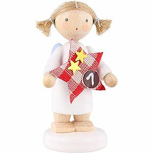 Weihnachtsengel Flade Flachshaarengel Flachshaarengel mit Stern (1) - 5 cm