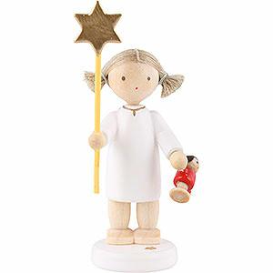 Weihnachtsengel Flade Flachshaarengel Flachshaarengel mit Stern und Puppe 2015 - 5cm