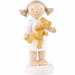 Weihnachtsengel Flade Flachshaarengel Flachshaarengel mit Teddybär - 5 cm