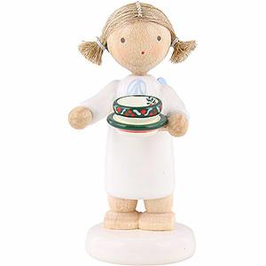 Weihnachtsengel Flade Flachshaarengel Flachshaarengel mit Teetasse - 5cm