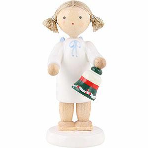 Weihnachtsengel Flade Flachshaarengel Flachshaarengel mit Tischglöckchen - 5 cm