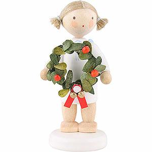 Weihnachtsengel Flade Flachshaarengel Flachshaarengel mit Weihnachtskranz - 5cm