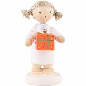 Weihnachtsengel Flade Flachshaarengel Flachshaarengel mit Weihnachtspäckchen, oran. - 5 cm