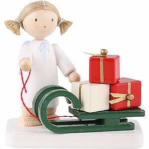 Weihnachtsengel Flade Flachshaarengel Flachshaarengel mit Weihnachtsschlitten - 5cm