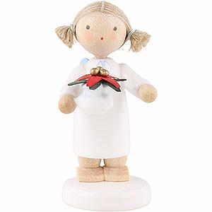Weihnachtsengel Flade Flachshaarengel Flachshaarengel mit Weihnachtsstern - 5 cm