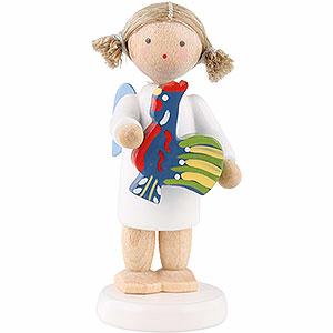 Weihnachtsengel Flade Flachshaarengel Flachshaarengel mit polnischem Spielzeughahn - 5cm