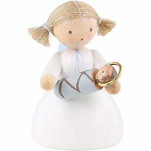 Weihnachtsengel Flade Flachshaarengel Flachshaarengel sitzend mit Jesuskind - 5cm