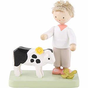 Kleine Figuren & Miniaturen Flade Flachshaarkinder Flachshaarkinder Junge mit Kälbchen - 5cm