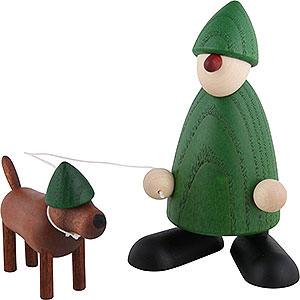 Kleine Figuren & Miniaturen Björn Köhler Gratulanten Gratulant Emil mit Waldi, grün - 9 cm