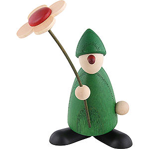 Kleine Figuren & Miniaturen Björn Köhler Gratulanten Gratulant Paule mit Blume gratulierend, grün - 9 cm