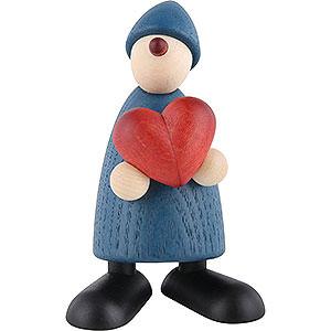 Kleine Figuren & Miniaturen Björn Köhler Gratulanten Gratulant Theo mit Herz, blau - 9cm