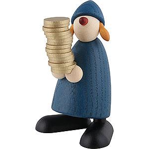Kleine Figuren & Miniaturen Bj�rn K�hler Gratulanten Gratulantin Goldmarie mit Talern, blau - 9cm