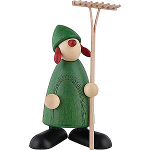 Kleine Figuren & Miniaturen Björn Köhler Gratulanten Gratulantin Hanna mit Rechen, grün - 9 cm