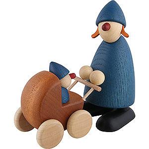 Kleine Figuren & Miniaturen Björn Köhler Gratulanten Gratulantin Paula mit Kinderwagen, blau - 9cm
