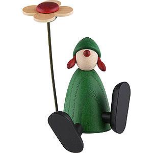 Kleine Figuren & Miniaturen Björn Köhler Gratulanten Gratulantin Sophie mit Blume a.Kante sitz./tanz., grün - 9cm