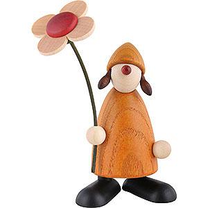 Kleine Figuren & Miniaturen Björn Köhler Gratulanten Gratulantin Susi mit Blume stehend, gelb - 9 cm