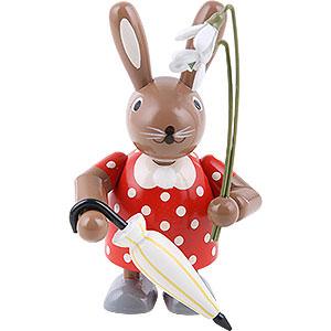 Kleine Figuren & Miniaturen Tiere Hasen Häsin mit Schneeglöckchen - 11 cm