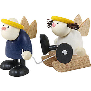 Kleine Figuren & Miniaturen Hans & Lotte (Hobler) Hans und Lotte mit Schlitten - 7x15cm