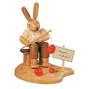 Kleine Figuren & Miniaturen Tiere Hasen Hase Angler am Teich - 11 cm