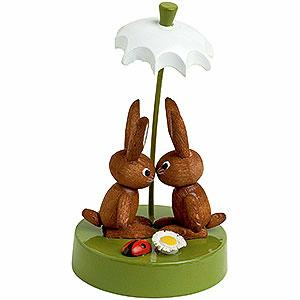 Kleine Figuren & Miniaturen Tiere Hasen Hasenpaar unter Schrim - 7cm