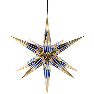 Adventssterne und Weihnachtssterne Haßlauer Weihachtssterne Haßlauer Weihnachtsstern Außenstern blau/weiß mit Goldmuster - 75 cm