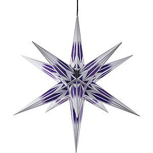 Adventssterne und Weihnachtssterne Haßlauer Weihachtssterne Haßlauer Weihnachtsstern Außenstern lila/weiß mit Silbermuster - 75 cm