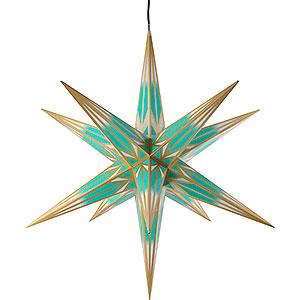 Adventssterne und Weihnachtssterne Haßlauer Weihachtssterne Haßlauer Weihnachtsstern Außenstern minttürkis/weiß mit Goldmuster - 75 cm
