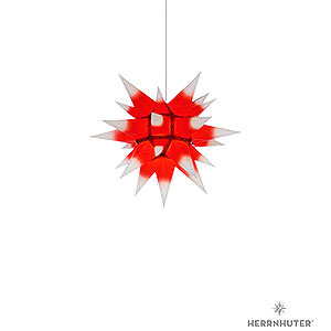 Advent Stars and Moravian Christmas Stars Herrnhuter Star I4 Herrnhuter Moravian Star I4 White with Red Core Paper - 40 cm / 15.7 inch