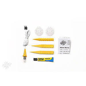Advent Stars and Moravian Christmas Stars Herrnhuter Star A1 Herrnhuter Moravian star DIY kit A1b yellow plastic - 13cm/5.1inch
