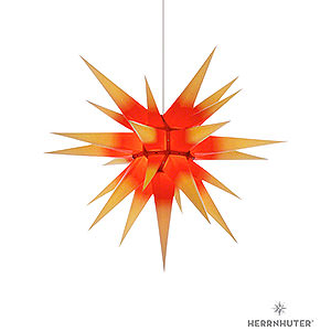Adventssterne und Weihnachtssterne Herrnhuter Stern I7 Herrnhuter Stern I7 gelb/roter Kern Papier - 70cm