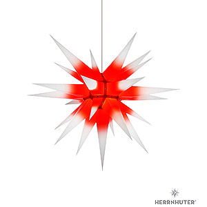 Adventssterne und Weihnachtssterne Herrnhuter Stern I7 Herrnhuter Stern I7 weiß/roter Kern Papier - 70 cm