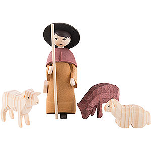 Kleine Figuren & Miniaturen ULMIK Krippe Hirte mit 3 Schafen gebeizt - 7 cm