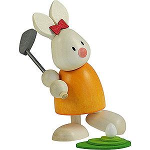 Kleine Figuren & Miniaturen Max & Emma (Hobler) Kaninchen Emma beim Golf - Abschlag - 9 cm